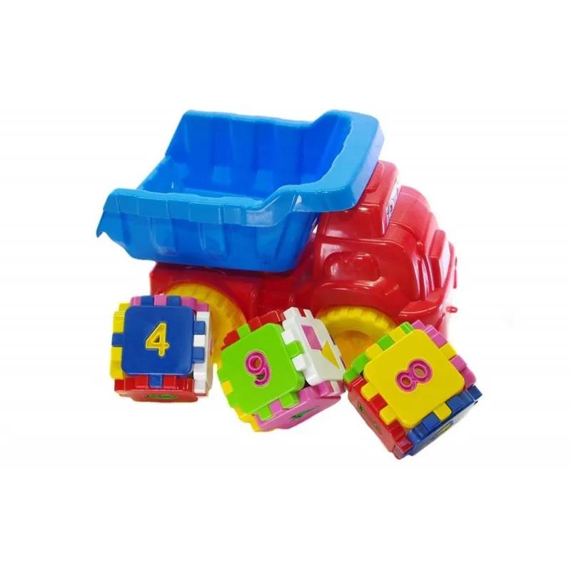 Детский игровой песочный набор 013585 с развивающим кубиком (Красный с голубым)