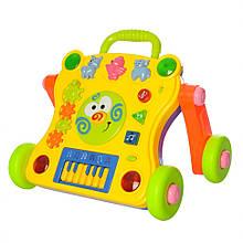 Детская каталка-ходунки 668-50-58  С музыкой и световыми эффектами  (Желтый)