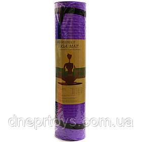 Килимок для йоги та фітнесу Shantou Фіолетовий йогамат 180х61х0,7 см (MS 2129)