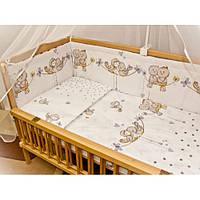 """Комплект постели для новорожденных  из 8 ед-""""Птички"""". Балдахин  вуаль цветная"""