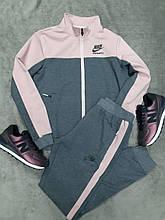 Женский спортивный костюм Nike трикотажный серый с ровым