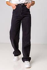 Модні широкі прямі чорні джинси з високою посадкою в розмірах: S, M, L, XL