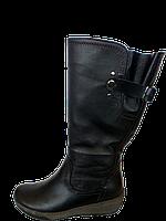 Женские кожаные сапоги на широкие ноги