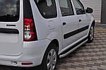 Dacia Logan MCV 2008-2014 рр. Бічні пороги Fullmond (2 шт., алюм.)