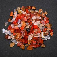 Фурнитура каменная крошка без отверстия Сердолик (+-)7мм 100 грамм