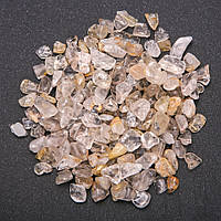 Фурнитура каменная крошка без отверстия Кварц Волосатик (+-)7мм 100 грамм