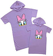 Платья футболки oversize набором для мамы и дочки Family look
