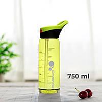 Пляшка для води CASNO 750 мл KXN-1207 Зелена з соломинкою