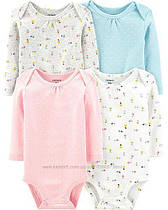 Боди с длиннымрукавом для новорожденных девочек12-18 мес.Набор4 шт.Original BodysuitsCarter's