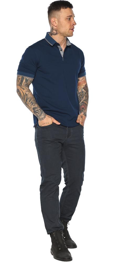 Синяя футболка поло мужская стильная модель 5104