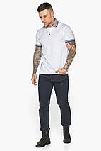 Модная белая футболка поло мужская модель 5425, фото 3