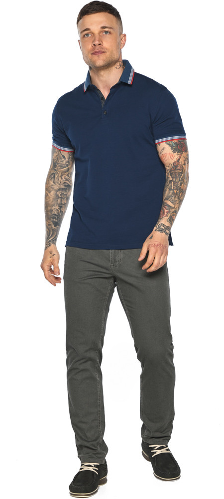 Трендова чоловіча синя футболка поло модель 5720