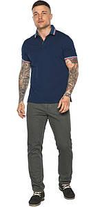 Трендовая мужская синяя футболка поло модель 5720