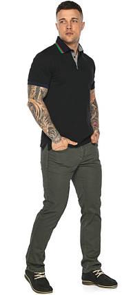 Чёрная брендовая футболка поло мужская модель 5641, фото 2