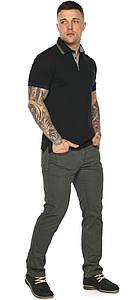 Чёрная брендовая футболка поло мужская модель 5641