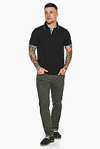 Чёрная брендовая футболка поло мужская модель 5641, фото 3