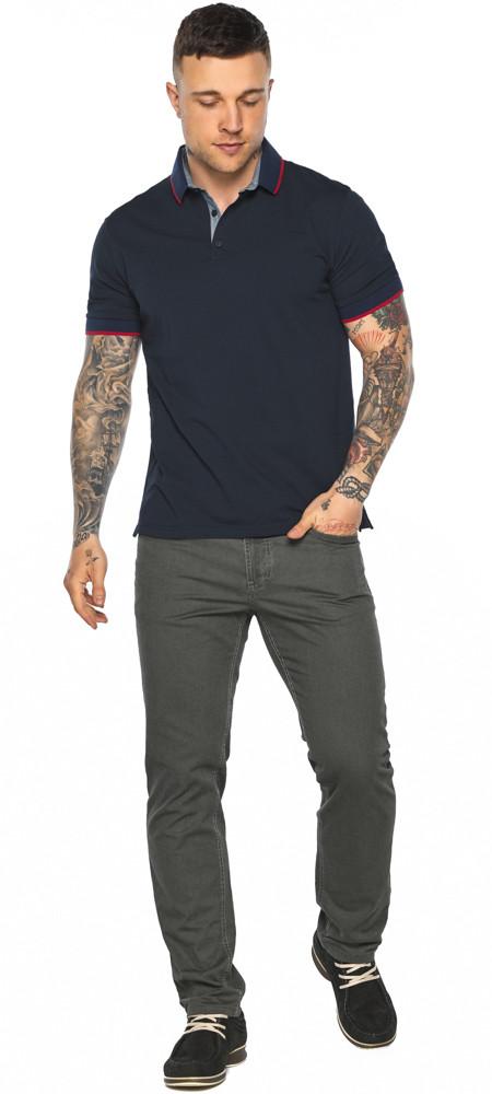 Оригинальная тёмно-синяя футболка поло мужская модель 5324