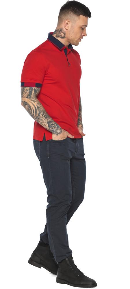 Комфортная футболка поло мужская красная модель 5960 (ОСТАЛСЯ ТОЛЬКО 54(XXL))