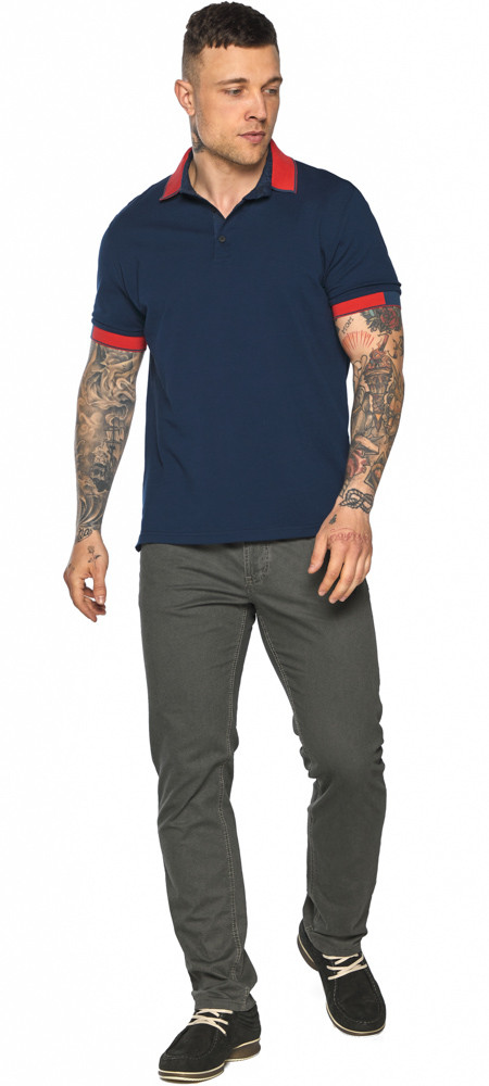 Стильная футболка поло мужская синяя модель 5815