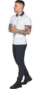 Белая практичная футболка поло мужская модель 5785