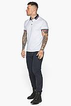 Белая практичная футболка поло мужская модель 5785, фото 3