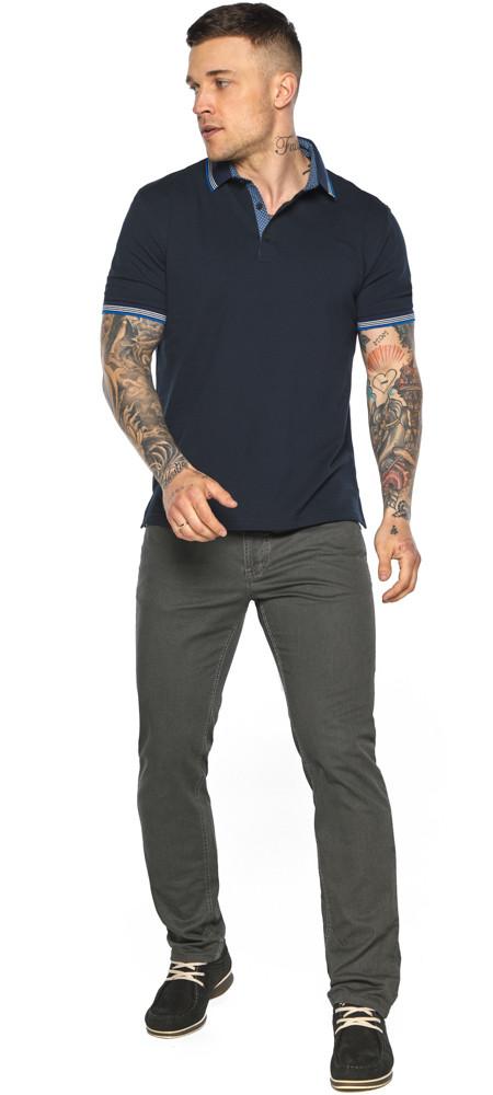Комфортна чоловіча темно-синя футболка поло модель 5836