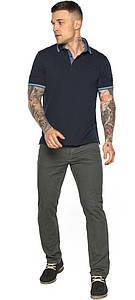 Комфортная мужская тёмно-синяя футболка поло модель 5836