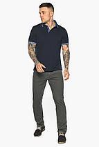 Комфортная мужская тёмно-синяя футболка поло модель 5836, фото 2