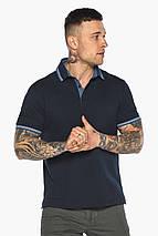 Комфортная мужская тёмно-синяя футболка поло модель 5836, фото 3