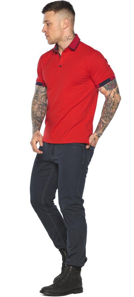 Красная модная футболка поло мужская модель 5640