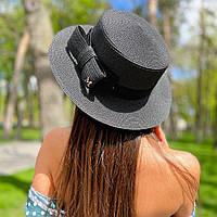 Шляпа женская летняя канотье с бантом черная