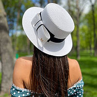 Шляпа женская летняя канотье с бантом белая