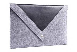 Серый чехол-конверт Gmakin для Macbook Air Pro 13.3 с треугольной крышкой GM24, КОД: 196761
