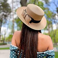 Шляпа женская летняя канотье с бантом бежевая