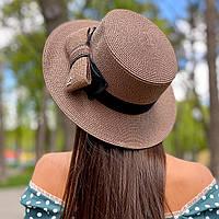 Шляпа женская летняя канотье с бантом кофе с молоком (мокко)