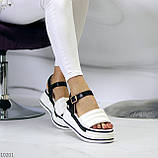 Крутые эффектные черно-белые женские босоножки на платформе 39-25 / 41-26см, фото 5