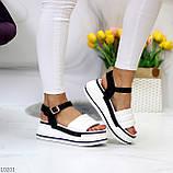 Крутые эффектные черно-белые женские босоножки на платформе 39-25 / 41-26см, фото 6