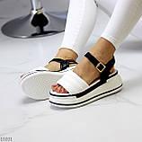 Крутые эффектные черно-белые женские босоножки на платформе 39-25 / 41-26см, фото 7