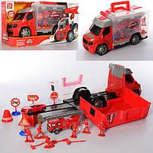 Дитячий ігровий набір пажарников в машинці 289-6 машинка-валізка інерційна