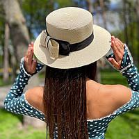 Шляпа женская летняя канотье с бантом молочная