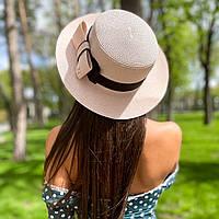 Шляпа женская летняя канотье с бантом розовая (пудра)
