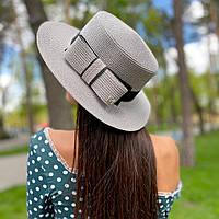 Шляпа женская летняя канотье с бантом серая