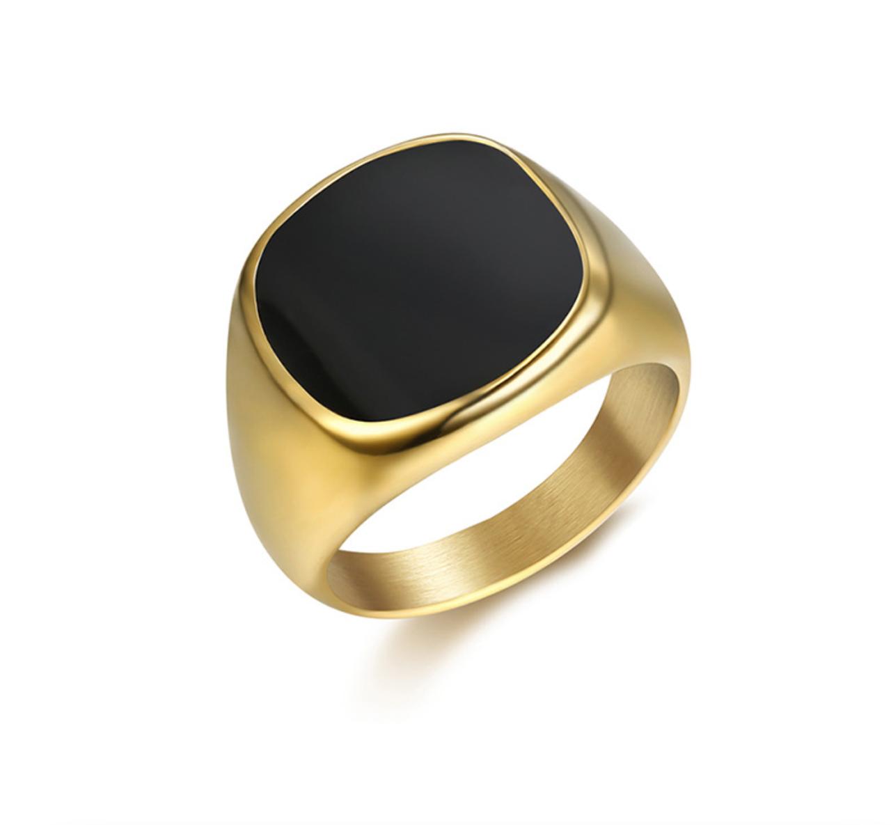 Кольцо Мужское Женское City-A Размер 17.5 цвет Золотое Черный Оникс Перстень Печатка Винтаж №3168
