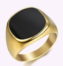 Кольцо Мужское Женское City-A Размер 17.5 цвет Золотое Черный Оникс Перстень Печатка Винтаж №3168, фото 3