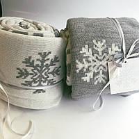 Плед вязаный Ohaina в снежинки 210х140  цвет пломбир-сталь