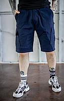 Мужские летние повседневные комфортные шорты карго, синие однотонные