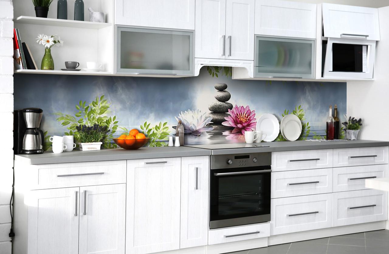 Вініловий кухонний фартух Лотоси і Камені (наклейка для кухні ПВХ плівка скіналі) озеро Природа Сірий 600*2500