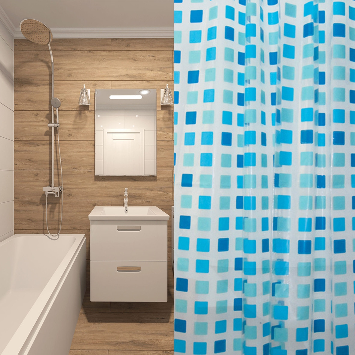 """Шторка для ванної кімнати МД """"Blue Intense"""" 180х200 см"""