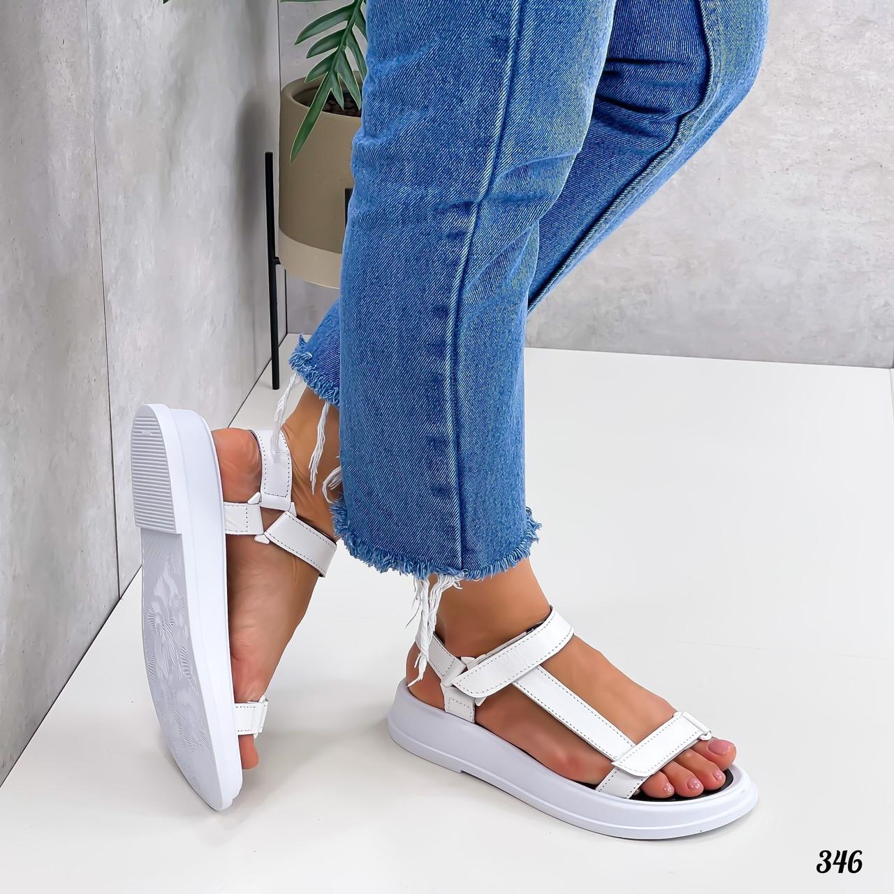 Белые кожаные сандалии на липучках