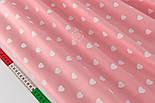 "Лоскут сатина ""Одинаковые сердечка"" белые на тёмно-розовом № 2152с, размер 27*160 см, фото 5"